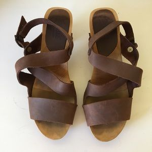 Sanita Leather and Wooden Heeled Clog Sandals